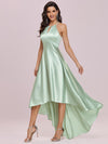 Fashion Wholesale Halter Open Back High Low Bridesmaid Dress-Mint Green 3
