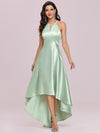 Fashion Wholesale Halter Open Back High Low Bridesmaid Dress-Mint Green 4