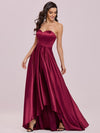 Sweetheart Neck Wholesale Prom Dress With Asymmetrical Hem-Burgundy 3