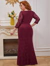 Elegant Long Sleeves Lace Wholesale Mermaid Evening Dress-Burgundy 2