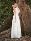 Women'S Wholesale A-Line Satin Wedding Dress With Deep V Neck-Cream 2