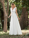 Women'S Wholesale A-Line Satin Wedding Dress With Deep V Neck-Cream 1