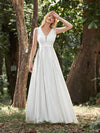 Women'S Wholesale A-Line Satin Wedding Dress With Deep V Neck-Cream 4