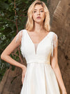 Women'S Wholesale A-Line Satin Wedding Dress With Deep V Neck-Cream 5