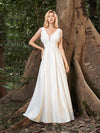 Women'S Wholesale A-Line Satin Wedding Dress With Deep V Neck-Cream 3