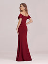 Sexy Off Shoulder Wholesale Mermaid Evening Dress With Appliques-Burgundy 2