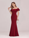Sexy Off Shoulder Wholesale Mermaid Evening Dress With Appliques-Burgundy 4