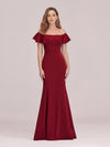 Sexy Off Shoulder Wholesale Mermaid Evening Dress With Appliques-Burgundy 1
