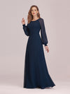 Casual Long Sleeve Wholesale A-Line Chiffon Evening Dress-Navy Blue 3