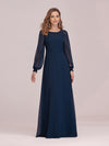 Casual Long Sleeve Wholesale A-Line Chiffon Evening Dress-Navy Blue 4