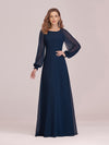 Casual Long Sleeve Wholesale A-Line Chiffon Evening Dress-Navy Blue 1
