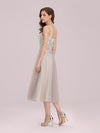 Romantic A-Line Short Tulle Wholesale Bridesmaid Dress With Appliques-Pink 2