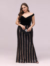 Women'S Hot Off Shoulder Wholesale Fishtail Sequin Evening Dress-Black 4