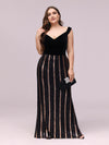 Women'S Hot Off Shoulder Wholesale Fishtail Sequin Evening Dress-Black 3