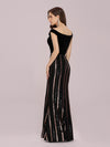 Women'S Hot Off Shoulder Wholesale Fishtail Sequin Evening Dress-Black 2