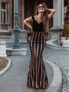 Women'S Hot Off Shoulder Wholesale Fishtail Sequin Evening Dress-Black 7