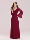 Trendy V Neck A-Line Chiffon Wholesale Bridesmaid Dress With Lace-Burgundy 1