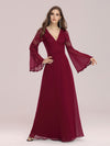 Trendy V Neck A-Line Chiffon Wholesale Bridesmaid Dress With Lace-Burgundy 4