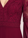 Trendy V Neck A-Line Chiffon Wholesale Bridesmaid Dress With Lace-Burgundy 5