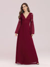 Trendy V Neck A-Line Chiffon Wholesale Bridesmaid Dress With Lace-Burgundy 2