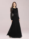 Simple A-Line Wholesale Chiffon Evening Dress With Long Sleeves-Black 1