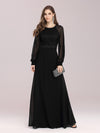 Simple A-Line Wholesale Chiffon Evening Dress With Long Sleeves-Black 4