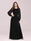 Simple A-Line Wholesale Chiffon Evening Dress With Long Sleeves-Black 3