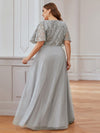 Elegant V-Neck Tulle Evening Dresses With Paillette Design-Grey 2