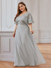 Elegant V-Neck Tulle Evening Dresses With Paillette Design-Grey 4