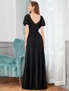 Flattering Double V-Neck Evening Dresses Wholesale With Puff Sleeves-Black 2