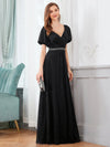 Flattering Double V-Neck Evening Dresses Wholesale With Puff Sleeves-Black 3