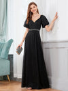 Flattering Double V-Neck Evening Dresses Wholesale With Puff Sleeves-Black 4