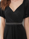 Flattering Double V-Neck Evening Dresses Wholesale With Puff Sleeves-Black 5