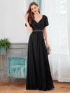 Flattering Double V-Neck Evening Dresses Wholesale With Puff Sleeves-Black 1