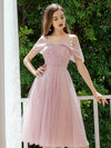 Charming Off-Shoulder Tulle Prom Dresses Wholesale With Spaghetti Straps-Mauve 1