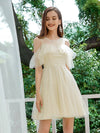Gorgeous Round Neck Tulle Wholesale Short Prom Dresses-Yellow 1