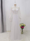 Simple Chiffon Wedding Dress With Chinese Style Collar-White 8