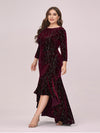 Elegant Plus Size Bodycon High-Low Velvet Party Dress-Burgundy 3