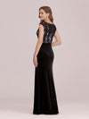 Sassy Round Neck Wholesale Evening Dress With Lace And Beaded Belt-Black 2