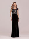 Sassy Round Neck Wholesale Evening Dress With Lace And Beaded Belt-Black 4