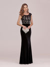 Sassy Round Neck Wholesale Evening Dress With Lace And Beaded Belt-Black 1
