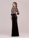 Sexy High Waist Velvet Wholesale Evening Dress With Lace Bodice-Black 2