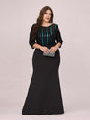 Elegant Round Neck Plus Size Wholesale Evening Dress With Sequin-Black 4