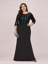 Elegant Round Neck Plus Size Wholesale Evening Dress With Sequin-Black 1