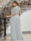 Elegant V Neck Short Sleeve A-Line Tulle Evening Dresses-Grey 7