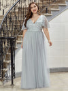 Elegant V Neck Short Sleeve A-Line Tulle Evening Dresses-Grey 9