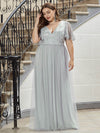 Plus Size Tulle Evening Dresses For Women With Short Sleeve-Grey 1