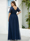 Plus Size V Neck Formal Wholesale Tulle Evening Dresses With Sequin For Mom-Navy Blue 2
