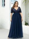 Plus Size V Neck Formal Wholesale Tulle Evening Dresses With Sequin For Mom-Navy Blue 1