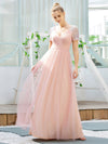 Sweet V Neck A-Line Tulle Wholesale Bridesmaid Dress With Sequin-Pink 1